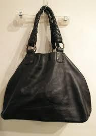 designer falor large soft black italian leather handbag purse tote braided