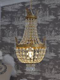 french crystal chandelier basket vintage bronze brass gold