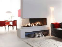 image of double sided electric fireplace gas