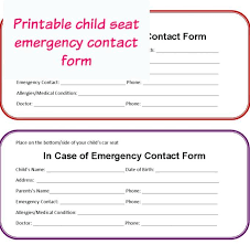 Emergency Contact Forms For Children Emergency Contact Form Template For Child Save Template