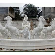 giant outdoor white marble fountain with rearing horse statues for for outdoor castle decor