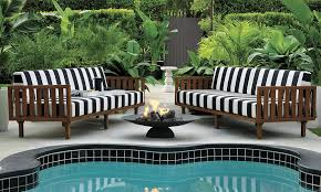 Black and white patio furniture Blue White View In Gallery Striped Sofas From Cb2 Decoist Patio Furniture And Decor Trend Bold Black And White