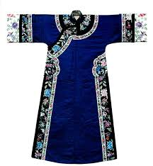 <b>China</b>, late Qing dynasty, blue satin silk <b>dress</b>, floral <b>embroidery</b> ...