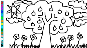 Drawing Apple Tree Coloring Page Learn Colors Game For Kids Children
