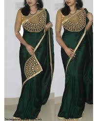 Saree Blouse Hand Work Designs Re Gorgeous Dark Green Paper Silk Hand Work Saree With Un