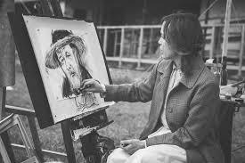 無料写真 おじいさんの絵を描く外国人女性 パブリックドメインq著作