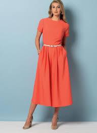 Jumpsuit Pattern Vogue Inspiration V48 Misses'Misses' Petite Gathered Dress And Pleated Jumpsuit