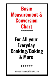 Basic Measurement Chart Basic Conversion For Cooking Baking