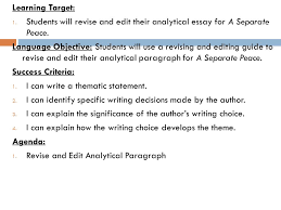 learning target students will revise and edit their analytical students will revise and edit their analytical essay for a separate