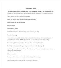 Sample Business Plan Outline Business Plan Outline Template 22 Free Sample Example Format
