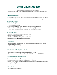 Career Objective Resume Sample Resume Format For Fresh Graduates One Page Format