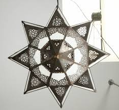 20th century large moroccan star shape frosted glass chandelier shade for