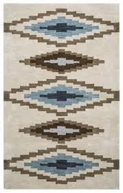 home tumble weed loft wool area rug 5 x 8 beige brown navy blue southwest