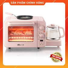 Lò nướng mini đa năng dành cho gia đình từ 2 - 4 người dung tích 8L kèm  chảo và ấm đun sôi nhiều chế độ nướng tiện lợi