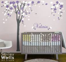 cherry blossom tree wall decal cherry blossom wall decal personalized name decal nursery wall decal baby on tree wall art baby nursery with cherry blossom flower tree wall decal name baby room decor
