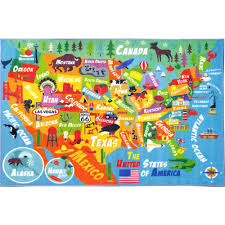 kc cubs multi color kids and children bedroom playroom usa united states map educational learning 3 ft x 5 ft area rug kcp010023 3x5 the home depot