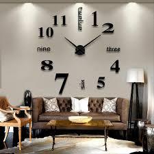 modern diy large wall clock 3d mirror surface sticker home office decor black silver us domestic aliexpresscom buy office decoration diy wall