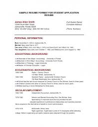 College Application Resume Template Format Of Examples Of College