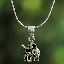 sterling silver elephant pendant necklace from thailand learning elephant