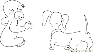 Curious George With Dog Coloring Page Free Curious George Coloring