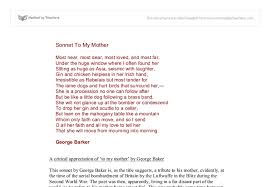 essay in mother co a critical appreciation of to my mother by george baker essay in mother my mother essay english