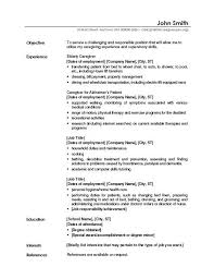Resume Template For Caregiver Position Resume Example With Objective