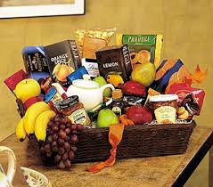 when you want to send thanks in a grande way send this basket filled with fresh fruit biscuits and tea nothing s grander