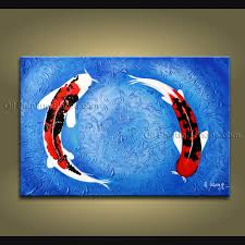 Paintings For Living Room Feng Shui Beautiful Koi Fish Painting Hand Made Wall Art Living Room