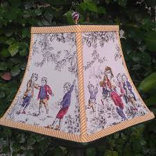 lampshade cotton fabric square bell frame french toile style playing boys green grosgrain mustard stripe handmade