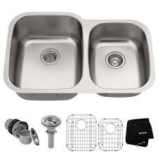 kraus premier undermount stainless steel 32 in 60 40 double bowl kitchen sink