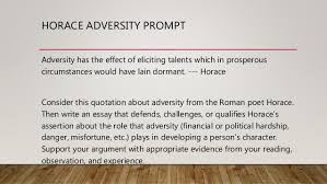 argument essay 4 horace adversity