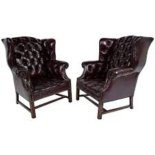 wingback chairs for sale. Simple Sale Pair Of Chesterfield Tufted Leather Wingback Chairs For Sale To