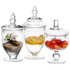 Amazon.com: MyGift Small Clear Glass Apothecary Jars, Wedding Centerpiece,  Candy Storage Bottles - 3 Piece: Home & Kitchen