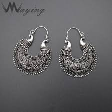 2018 whole african tribal gypsy antique silver gold chandelier hoop earrings for women carved hollow vintage ear piercing jewelry from hilaryw