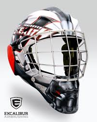 bane goalie mask designed and airbrushed by ian johnson for nll goalie tyler richards of the vancouver stealth