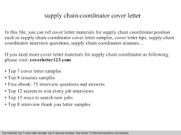 supply chain coordinator cover letter supply chain manager cover letter