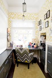 creative ideas home office. unique yellow geometric wallpaper for creative ideas home office with tribal printed chair and modern desk