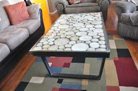 coffee table wood metal coffee table round glass table contains rounded wood and gray sofa