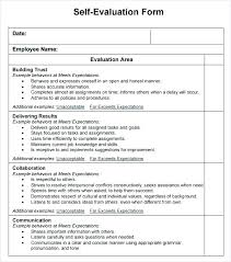 Job Evaluation Template Stunning Annual Employee Review Template Self Format Sample Form Forms Job
