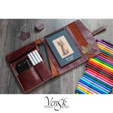 pencil case pen case leather pencil case artist case brash case