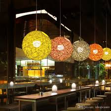 2019 minimalist rattan pendant lamp colorful ball hanging light for bar cafe clothing retro rural rope wicker light fixture from icauto