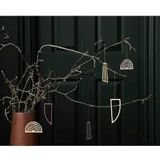 Ferm Living 3er Set Christbaumschmuck Ornamente Messingfarben