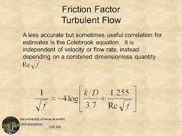 20 friction factor turbulent flow a less accurate but sometimes useful correlation for estimates is the colebrook equation