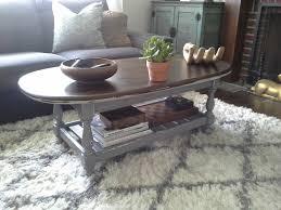 ethan allen coffee table grey white jacobean stain