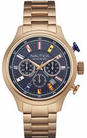 men s nautica chronograph rose gold band watch nad21507g