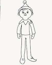 Small Picture Elf on the shelf coloring page for elfie and the kids to colour in