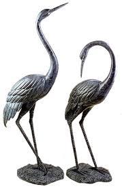 bronze garden cranes pair medium san