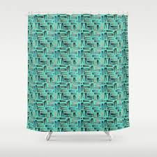 mini aqua blue skinny jeans watercolor art shower curtain