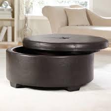 ... Hidden Storages Fancy Ottoman Round Coffee Table Black Colors Furniture  Opeanable Minimalist Decor ...