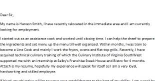 sample cover letters cover letter for a cook cook cover letter